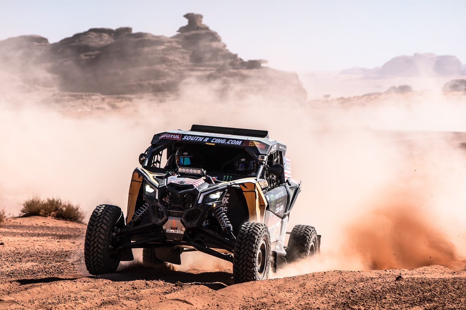 Casey Currie racing at the Dakar Rally, an event he won. (Can-Am)
