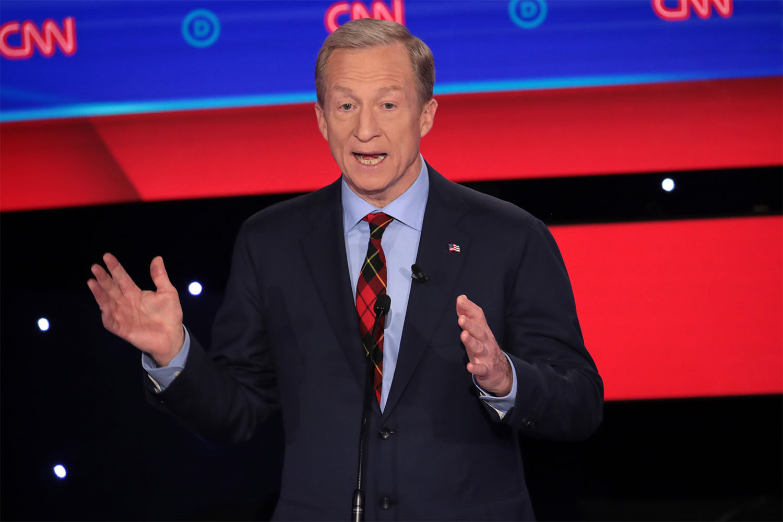 tom steyer suit guide democratic debate