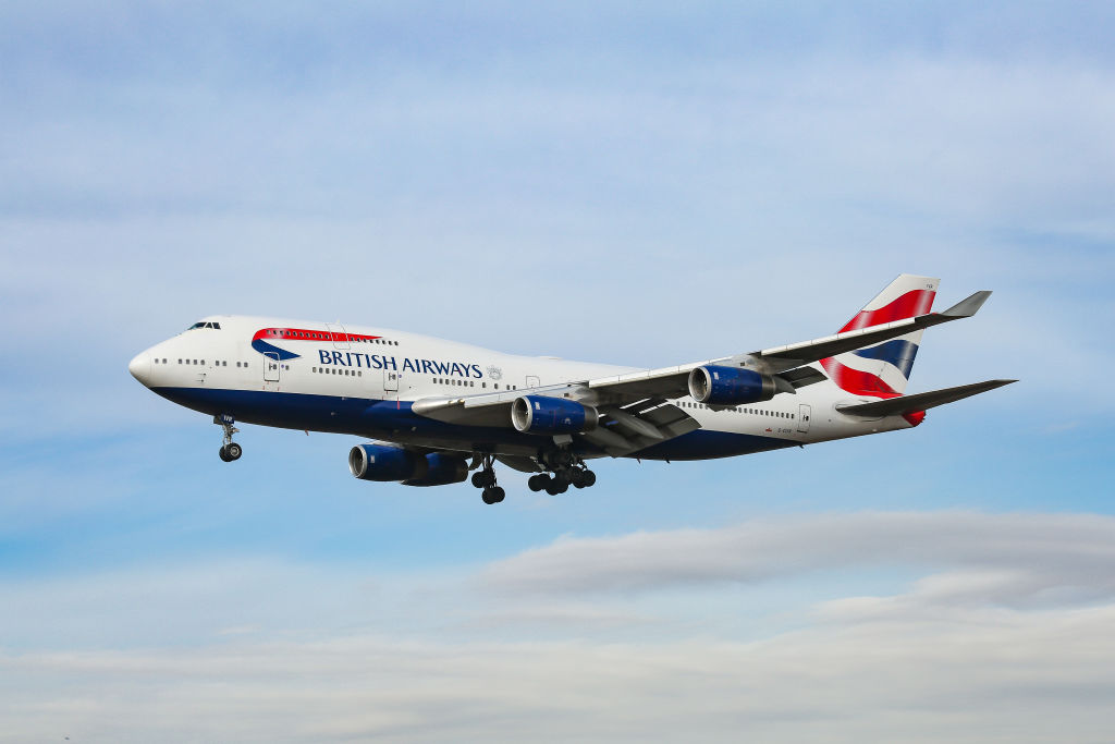 British Airways Boeing 747-400 commercial aircraft as seen on final approach with landing gear down landing at John F. Kennedy International Airport. (Photo by Nicolas Economou/NurPhoto via Getty Images)
