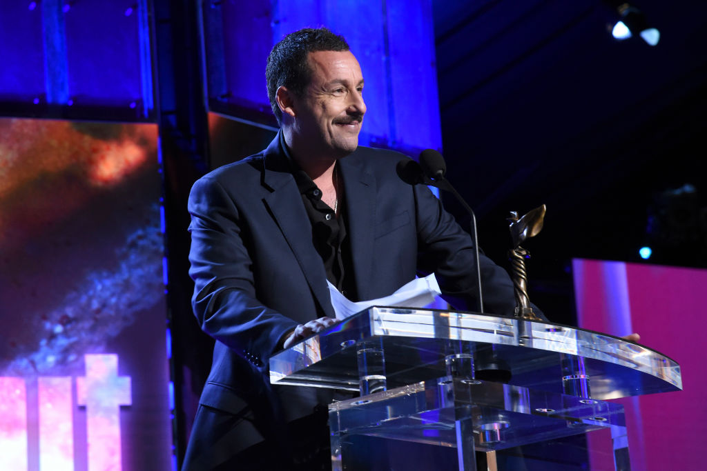 Adam Sandler accepts the Best Male Lead award for 'Uncut Gems' onstage during the 2020 Film Independent Spirit Awards on February 08, 2020 in Santa Monica, California.  (Photo by Michael Kovac/Getty Images)