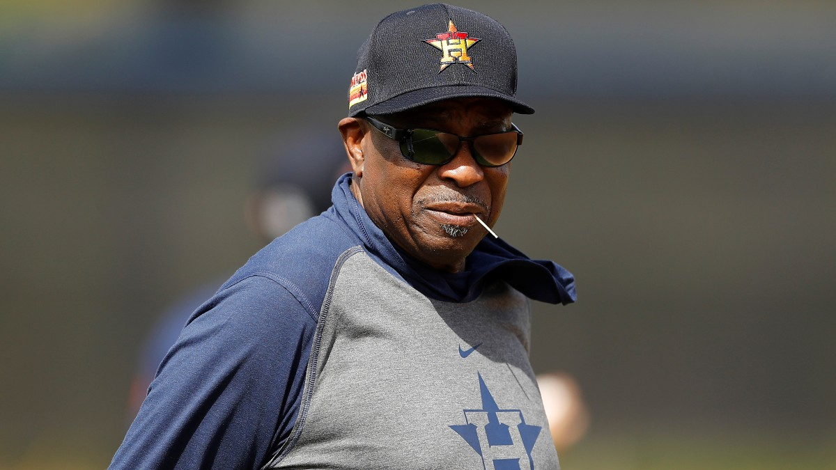 Dusty Baker looks on during spring training
