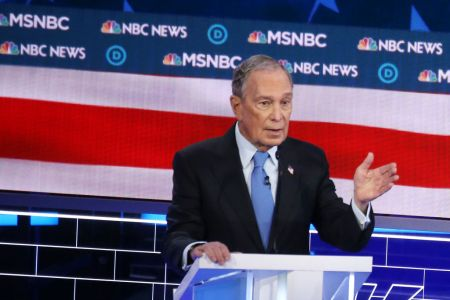 Democratic presidential candidate former New York City mayor Mike Bloomberg speaks during the Democratic presidential primary debate at Paris Las Vegas on February 19, 2020 in Las Vegas, Nevada. (Photo by Mario Tama/Getty Images)