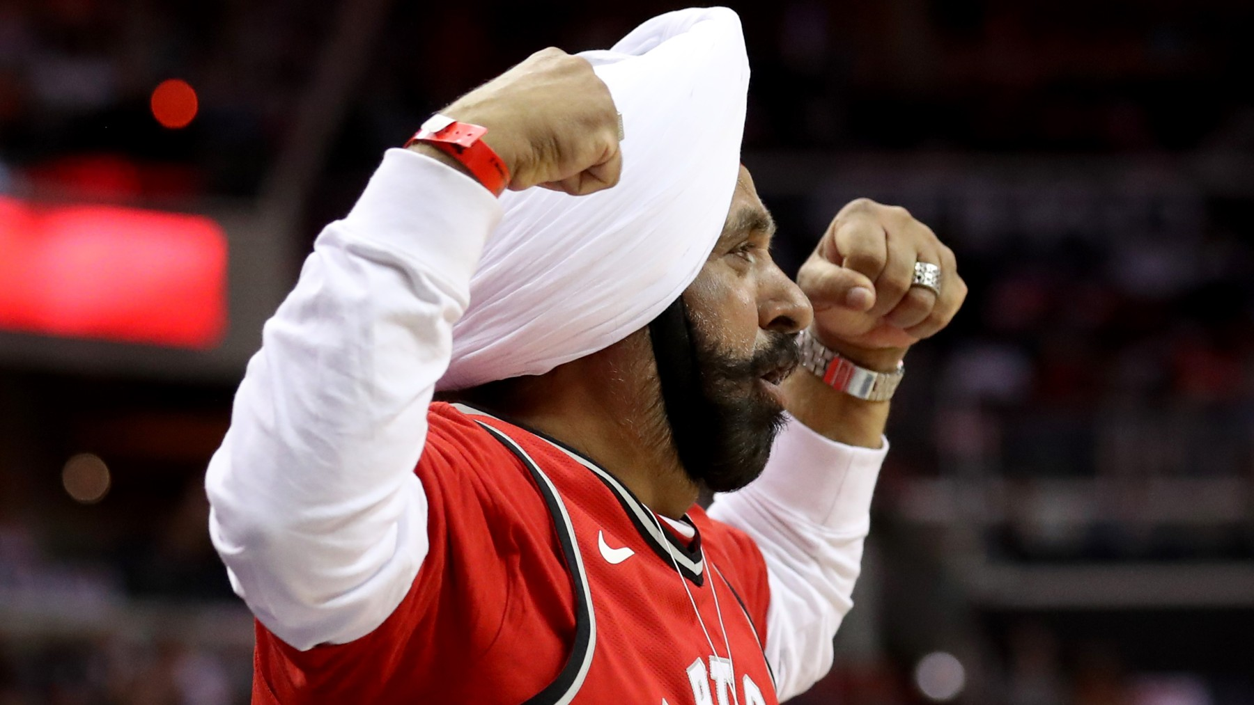 Nav Bhatia celebrates Raptors basket