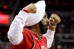 Nav Bhatia celebrates Raptors basket