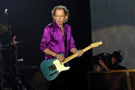 Keith Richards of The Rolling Stones performs at the Rose Bowl