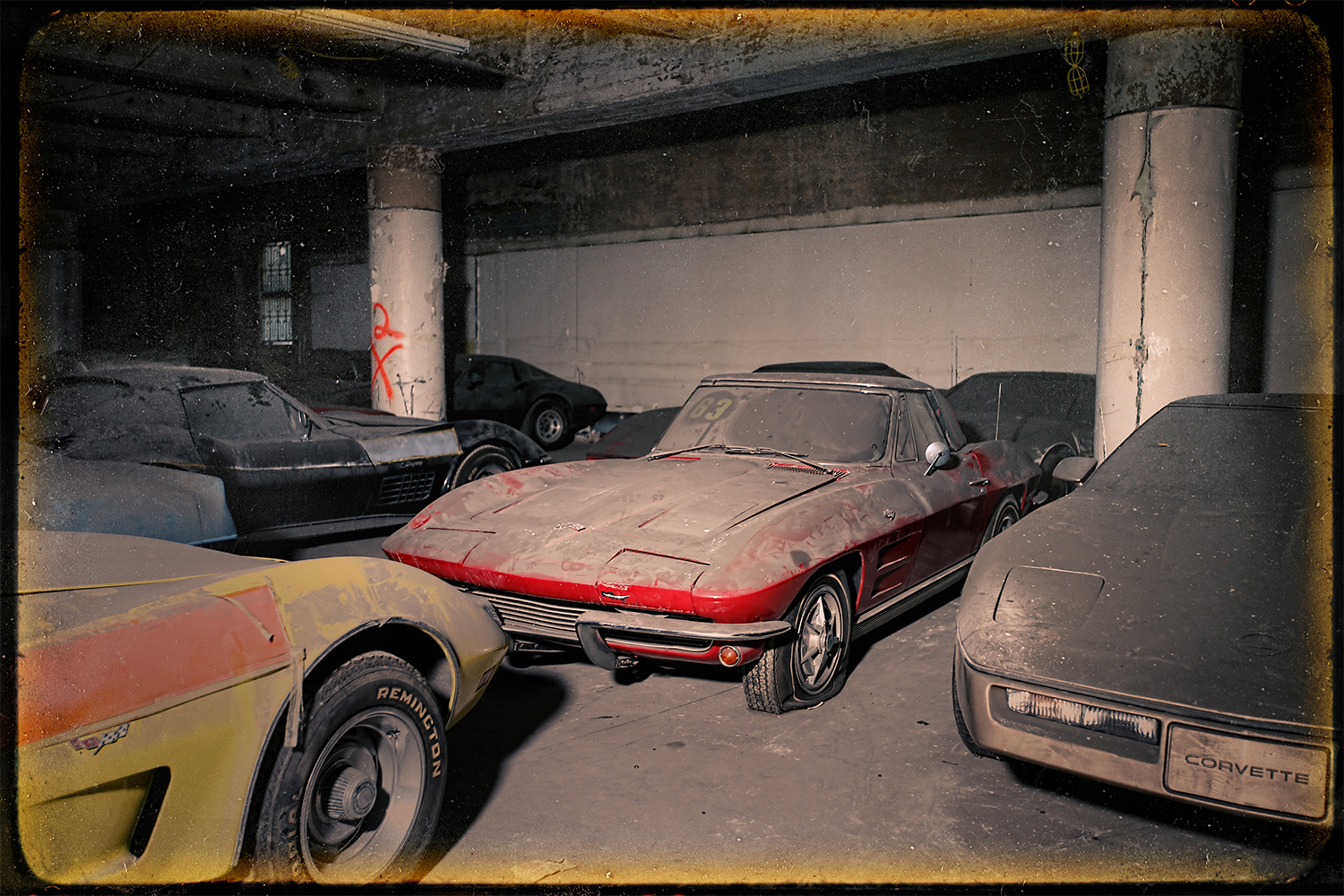 Peter Max Corvette Collection in a parking garage