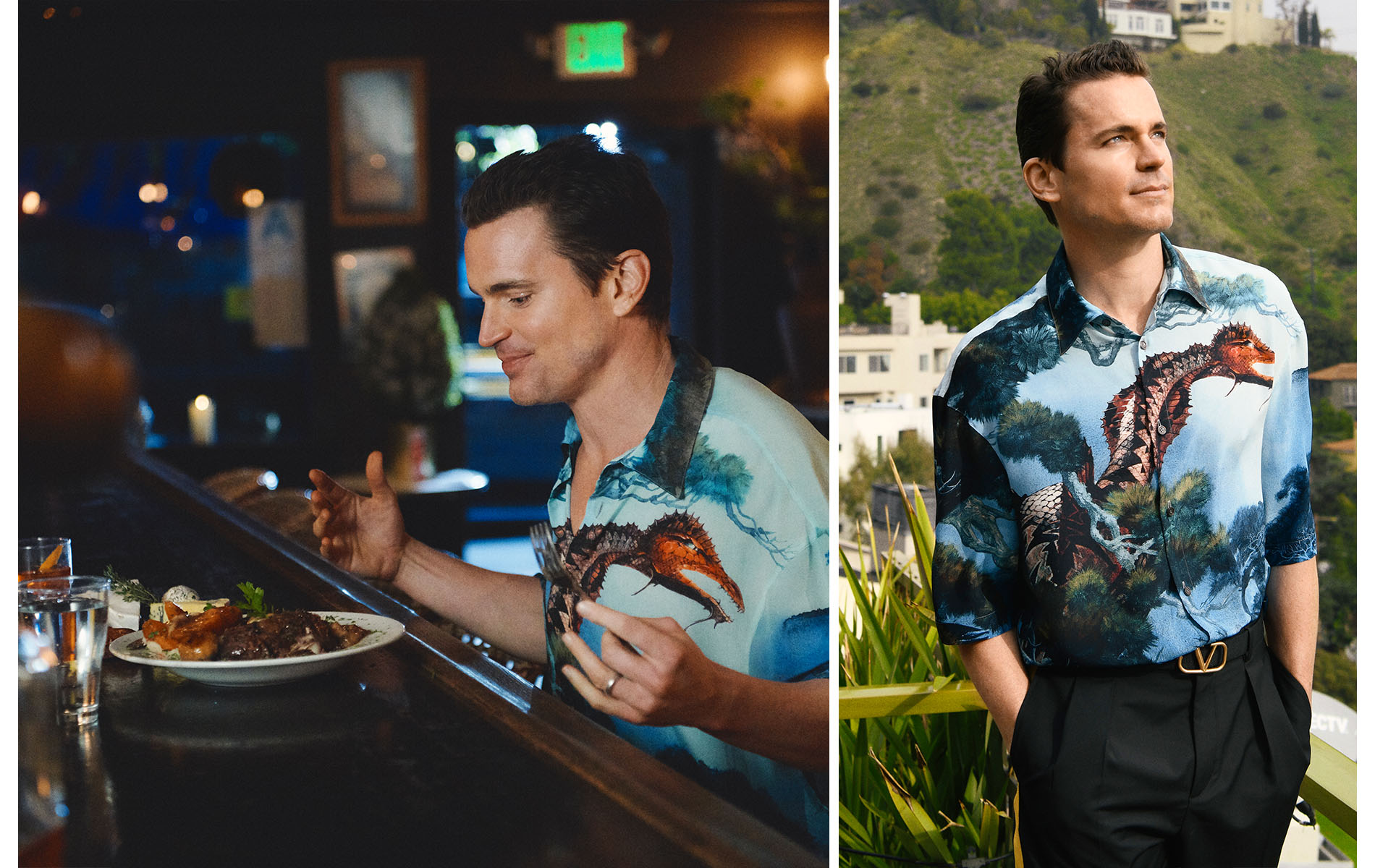 Matt Bomer Los Angeles Neiman Marcus Menswear Valentino Franklin Strip La Poubelle