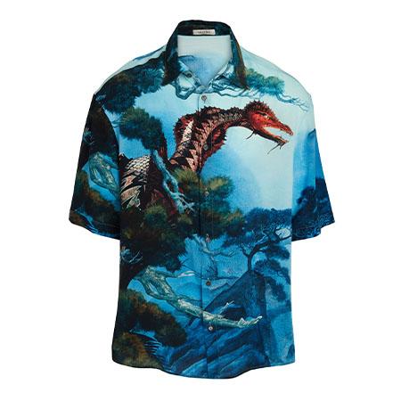 Dragon's Garden Silk Short-Sleeve Sport Shirt Valentino