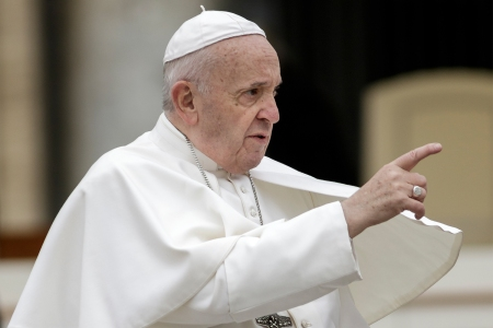 The Pope pointing his finger