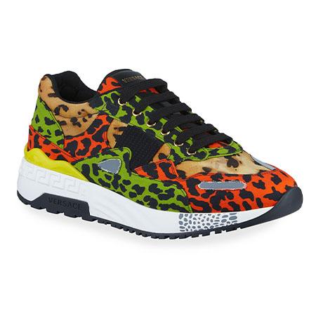 Multicolor Leopard-Print Canvas Sneakers Versace