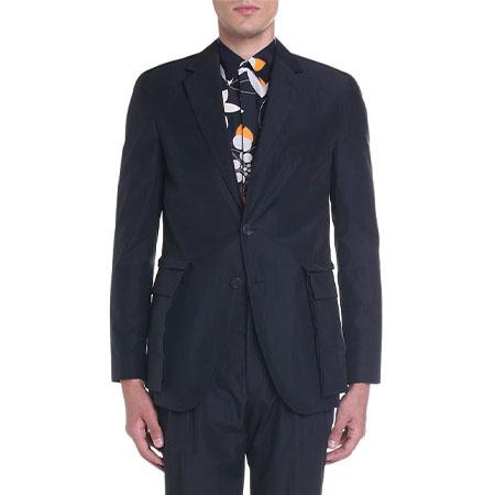 Cotton Two-Button Jacket with Detachable Pockets Fendi
