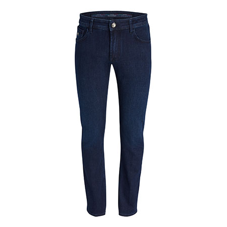Dark Denim Jeans with Leather Patch Detail Stefano Ricci