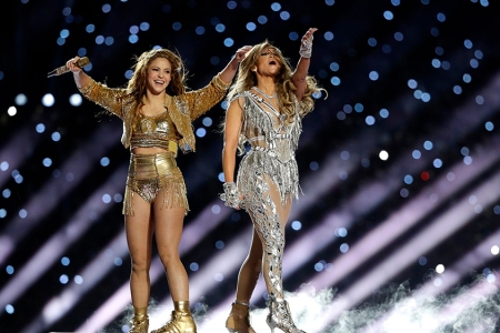 Shakira and Jennifer Lopez perform during halftime of the NFL Super Bowl 54 football game between the Kansas City Chiefs and the San Francisco 49ers.