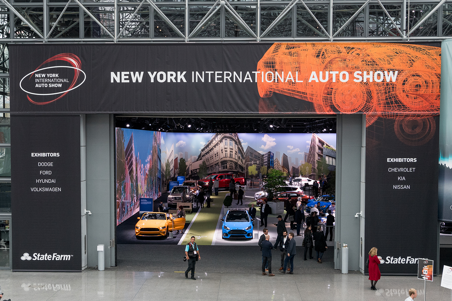 The entrance to an auto show in New York City