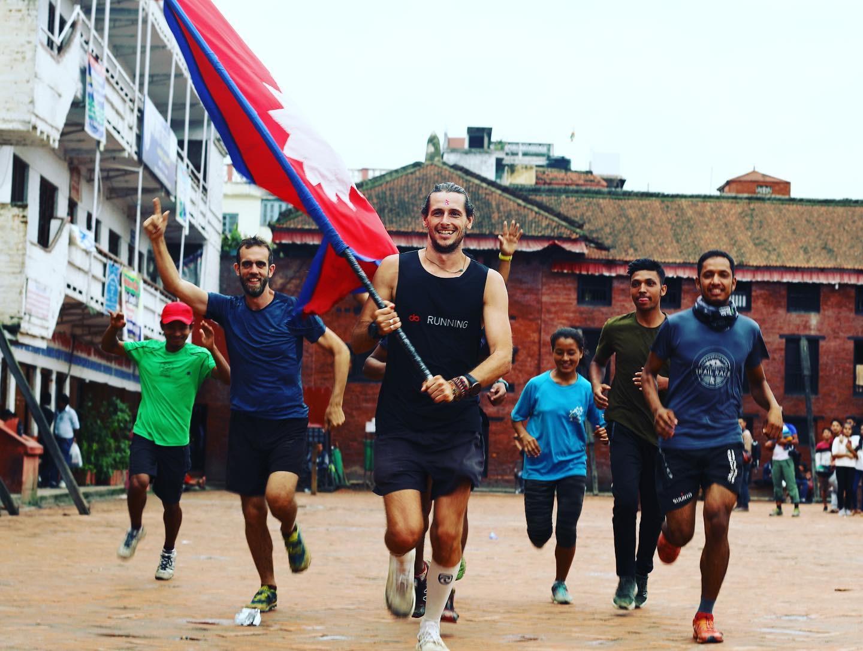 Nick Butter finishing a race in Nepal