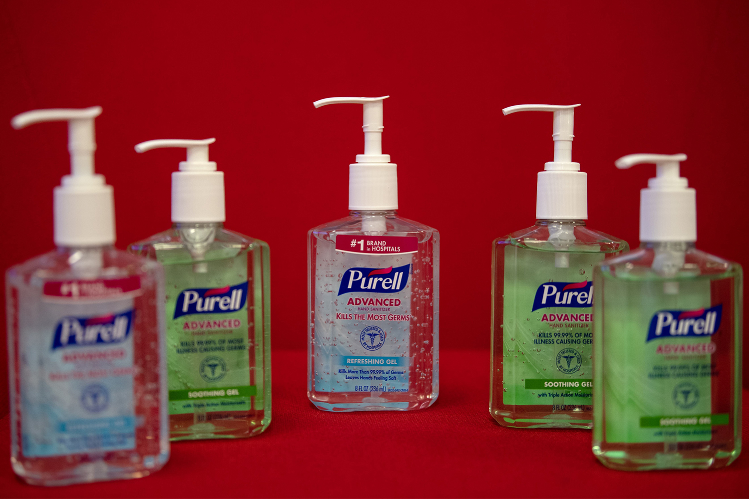 Five bottles of hand sanitizer