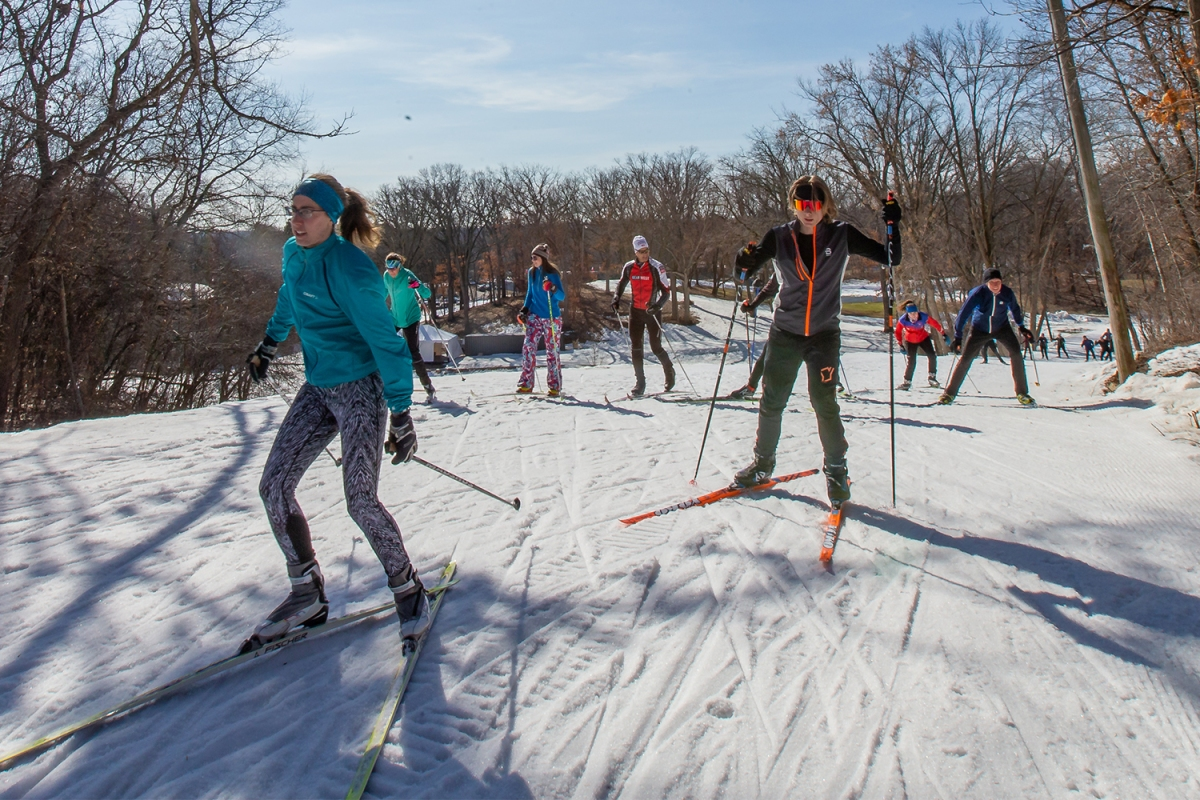 A group of skiers on Minneapolis cross-country trails