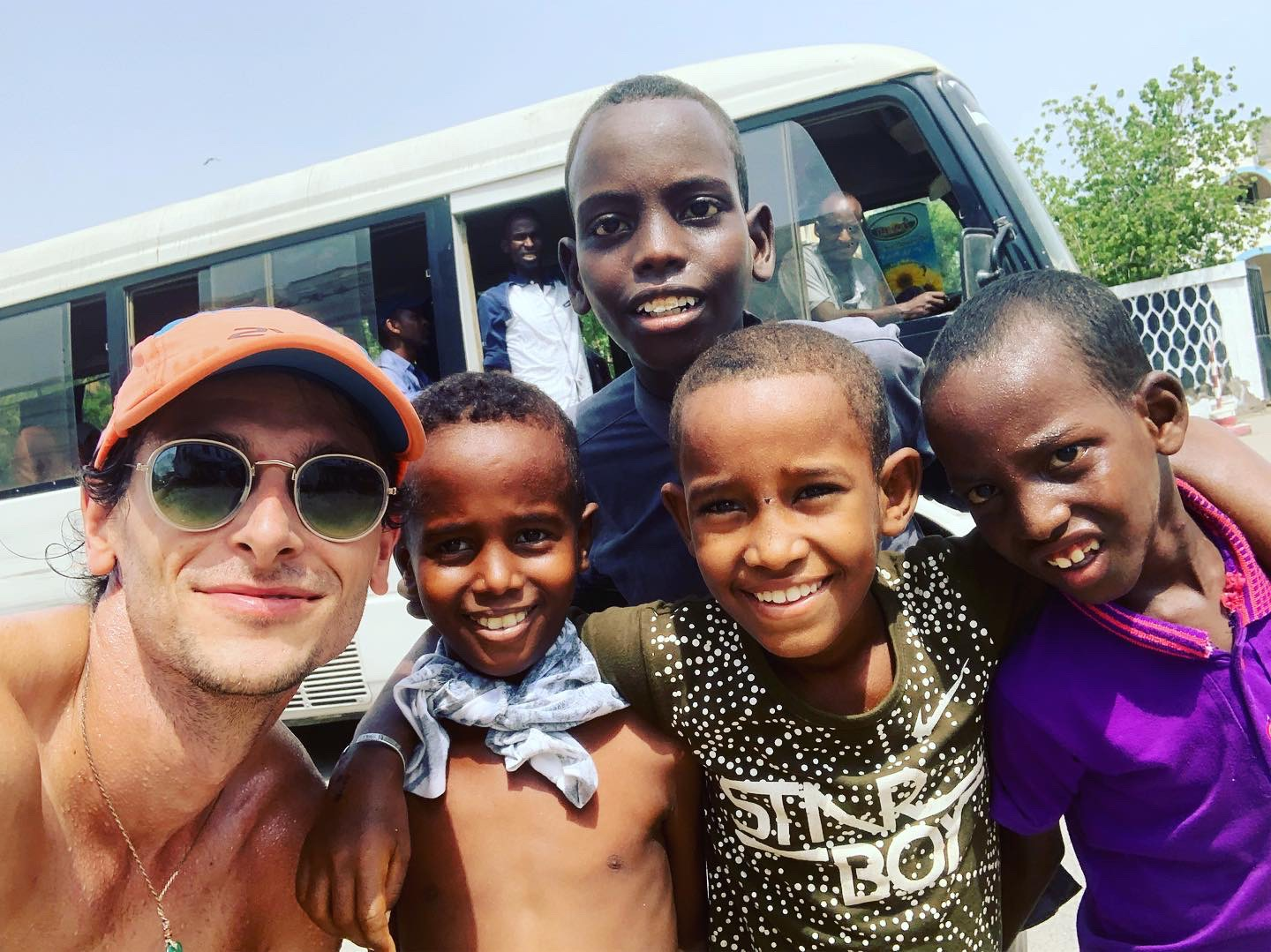 Nick Butter with local African children