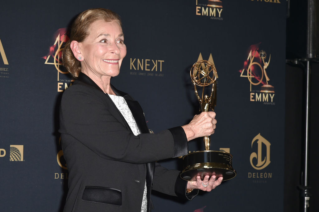 Judge Judy Sheindlin, with her Lifetime Achievement Award,  attends the 46th Annual Daytime Emmy Awards - Press Room at Pasadena Civic Center on May 05, 2019 in Pasadena, California. (Photo by David Crotty/Patrick McMullan via Getty Images)