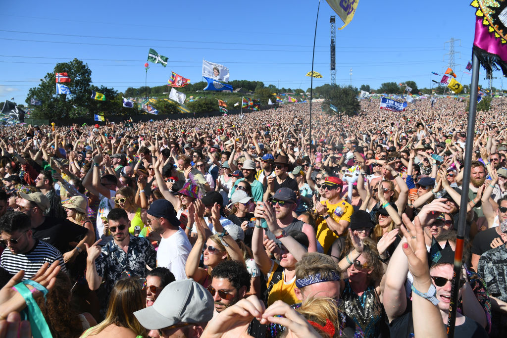 A crowd at the music festival Glastonbury