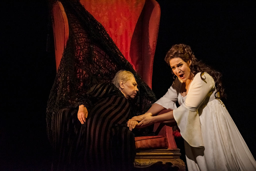 Russian mezzo-soprano Larissa Diadkova (as the 'Countess') (left) and Norwegian soprano Lise Davidsen (as 'Lisa') perform during the final dress rehearsal prior to the season revival of the Metropolitan Opera/Elijah Moshinsky production of 'The Queen of Spades' at Lincoln Center's Metropolitan Opera House, New York, New York, November 26, 2019. (Photo by Jack Vartoogian/Getty Images)