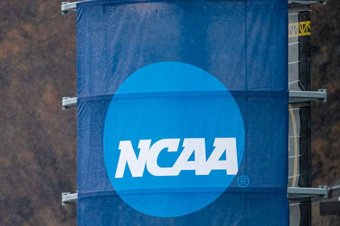 The NCAA logo is seen during the Division II Women's Soccer Championship. (Timothy Nwachukwu/NCAA Photos via Getty)