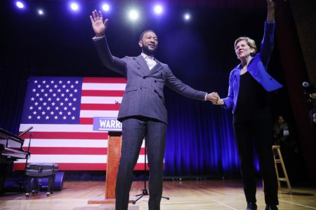Senator Elizabeth Warren (D-MA) appears with musician John Legend at a Get Out the Vote Rally at South Carolina State University ahead of South Carolina's primary on February 26, 2020. (Photo by Spencer Platt/Getty Images)