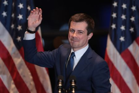 Pete Buttigieg announces he is ending his campaign to be the Democratic nominee for president during a speech at the Century Center on March 01, 2020 in South Bend, Indiana. (Photo by Scott Olson/Getty Images)