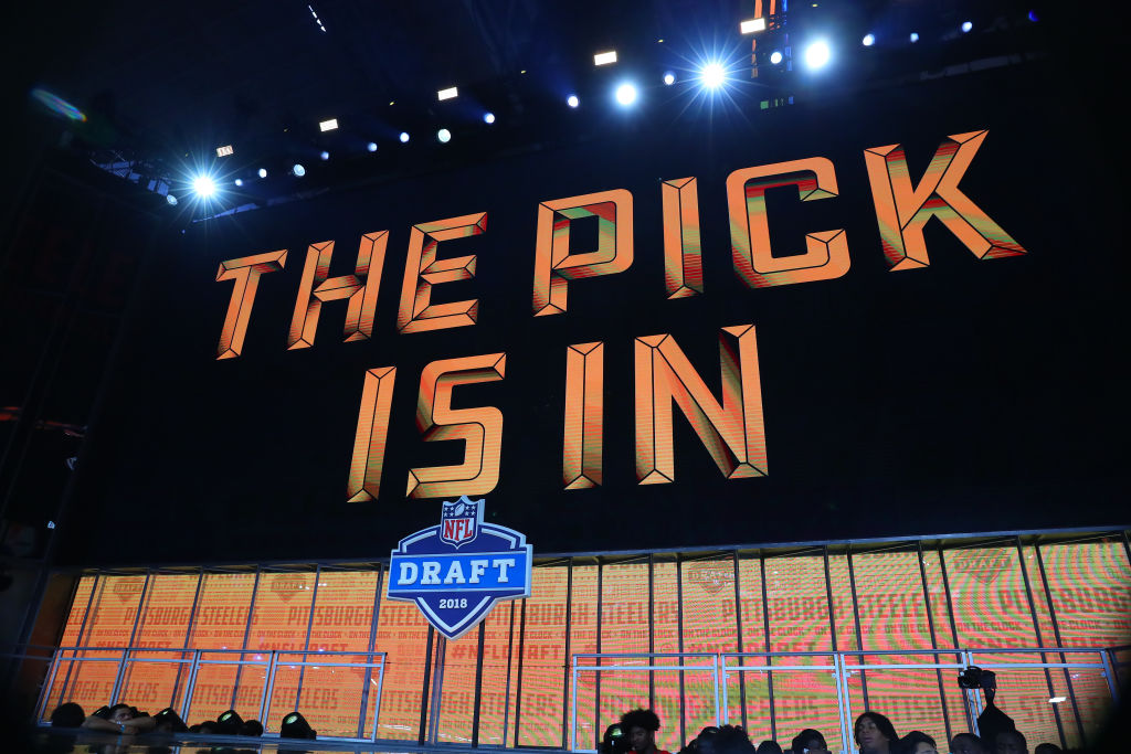 The pick is in logo on the video board at the 2018 NFL Draft. (Rich Graessle/Icon Sportswire via Getty)