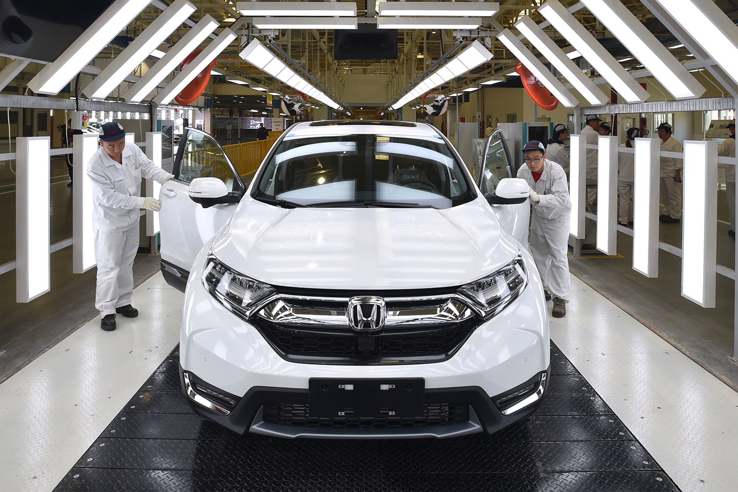 White Honda being inspected in Wuhan, China factory