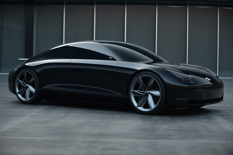 Black electric vehicle concept car