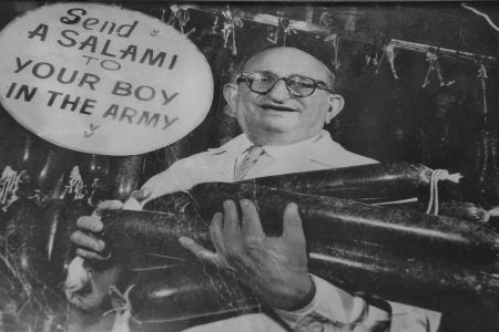 """Katz's """"Send a salami to your boy in the Army!"""" slogan started during WWII. (Katz's Deli)"""