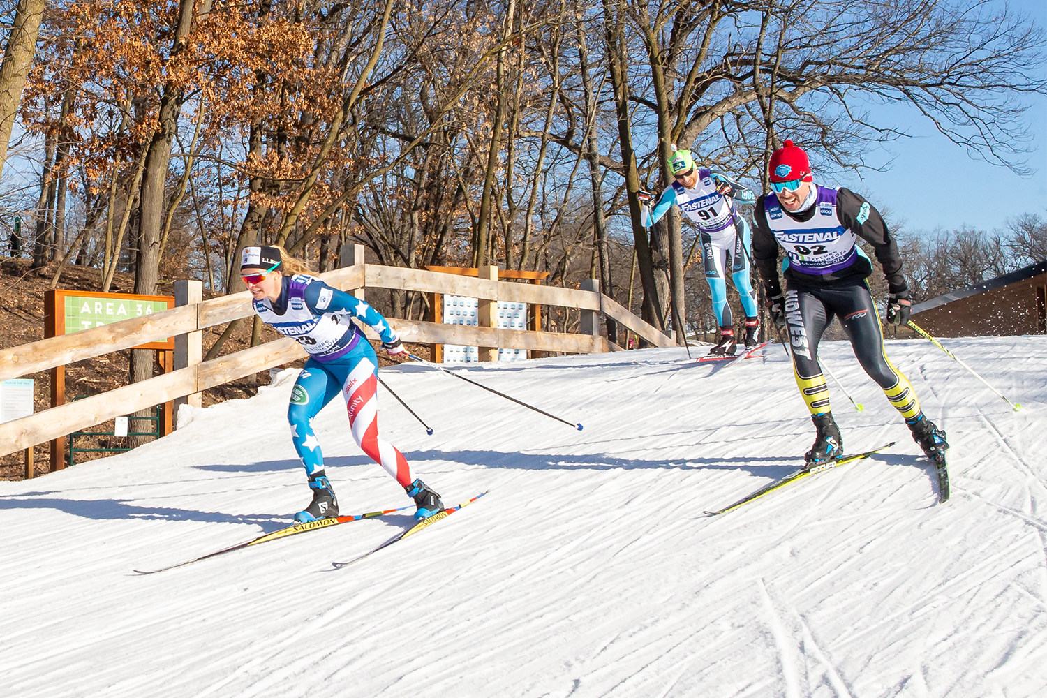 Cross-country skiers at the Minnesota World Cup course
