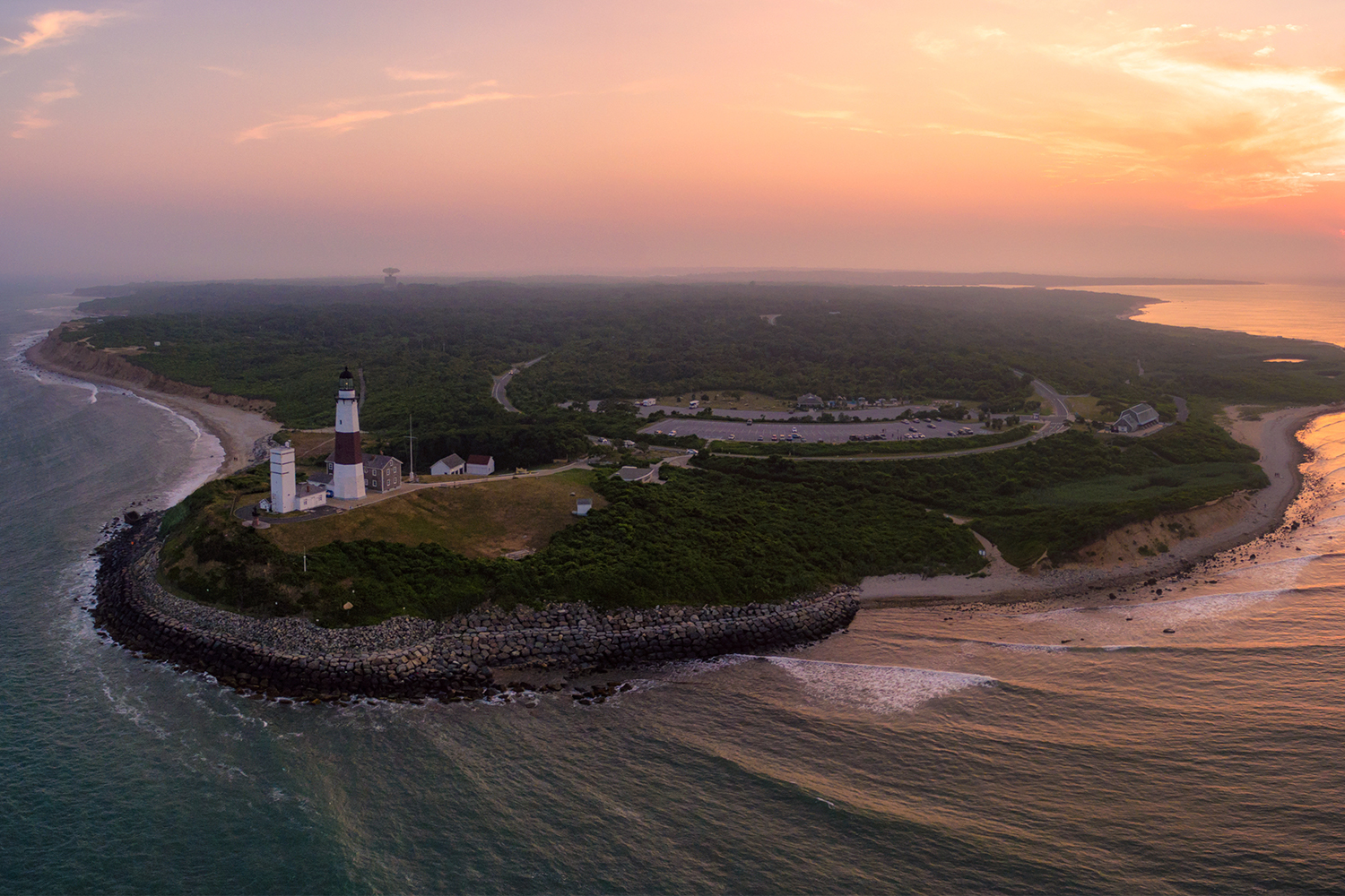 Aerial view of Montauk Point in East Hampton, Long Island, New York