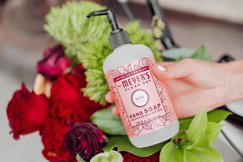 A bottle of Mrs. Meyer's hand soap