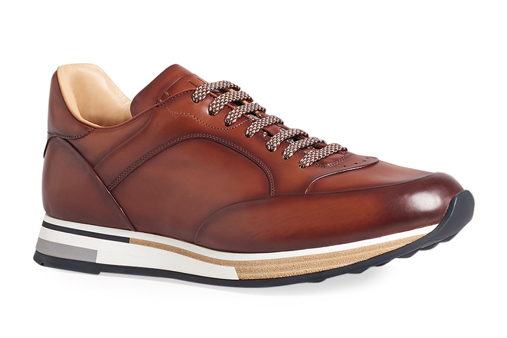 Duke Patina Burnished Leather Runner Sneakers dunhill
