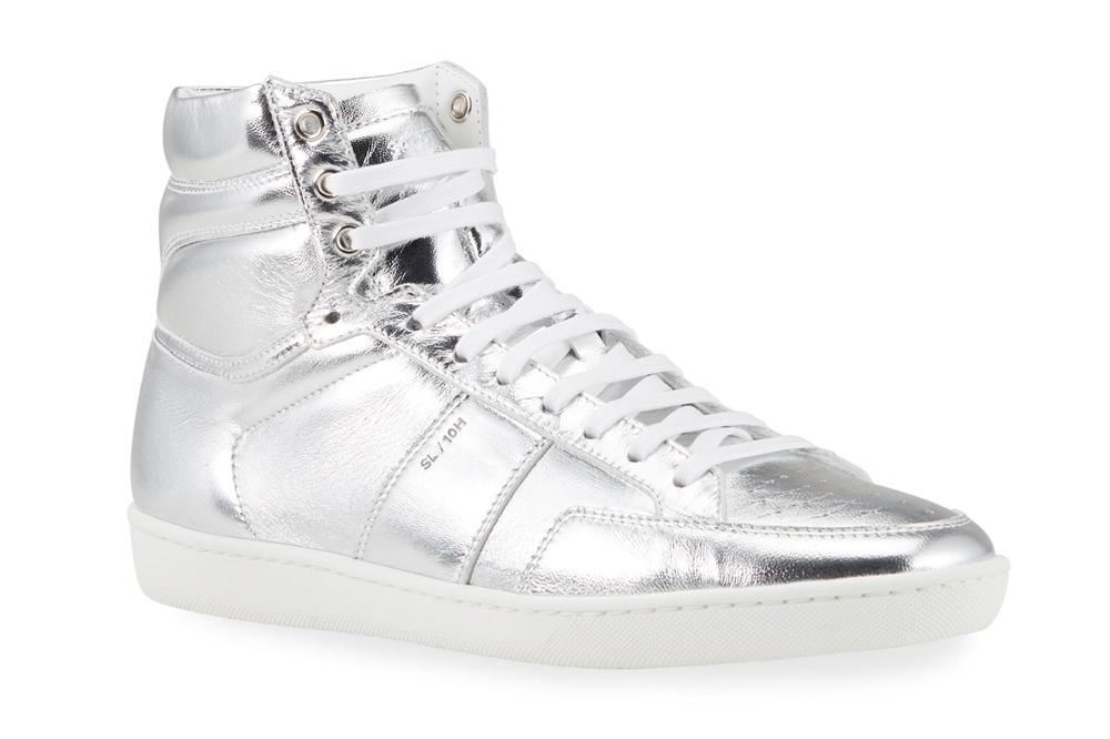 Metallic Court Classic High-Top Sneakers Saint Laurent