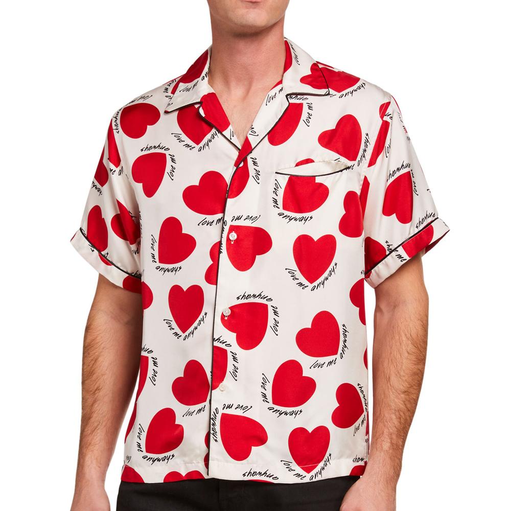 Hearts Silk Pajama Shirt Amiri
