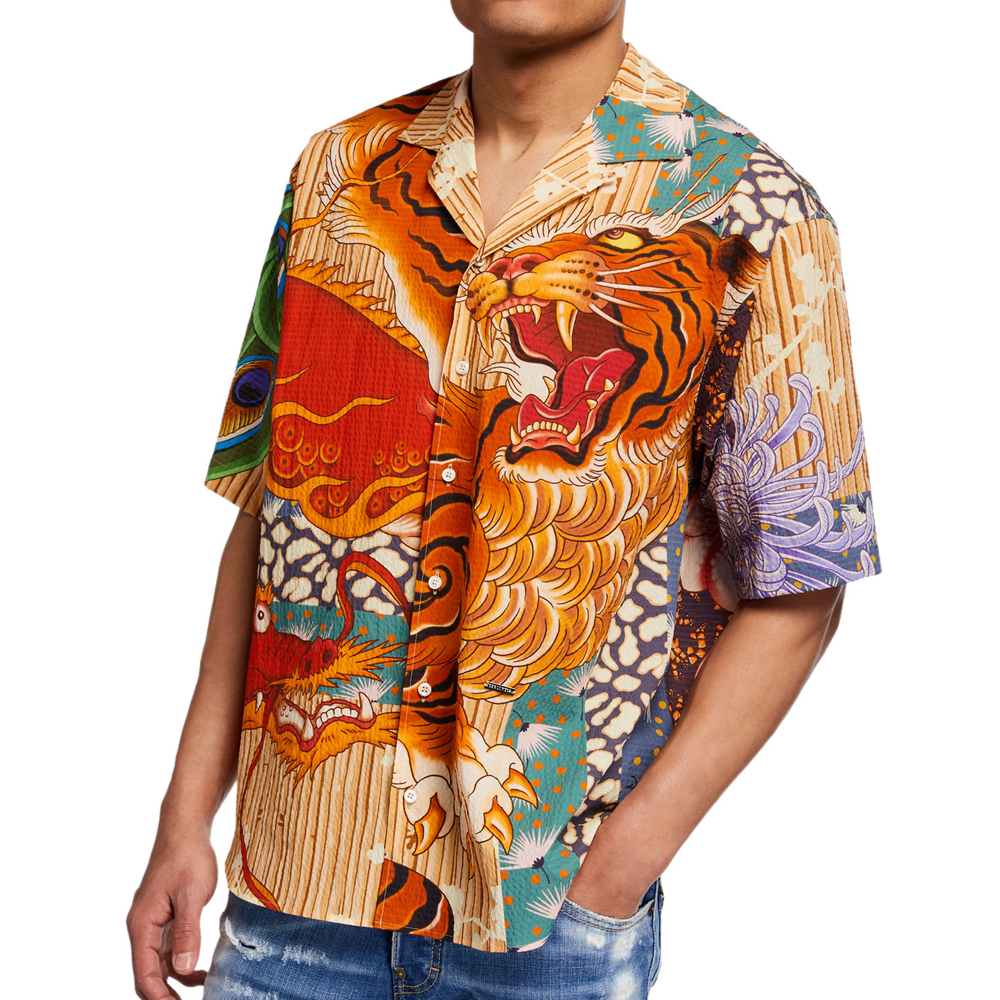 Peacock Tiger-Print Sport Shirt Dsquared2