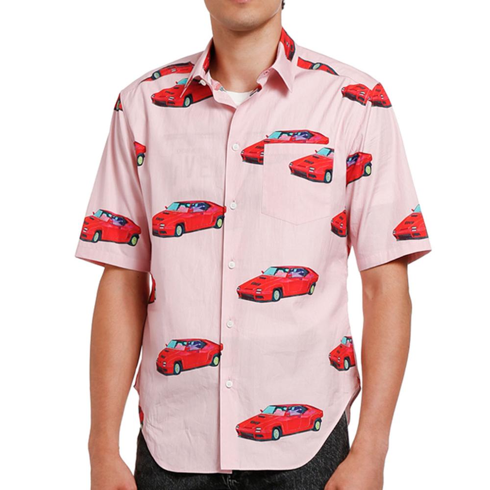 Car-Print Cotton Dress Shirt Versace