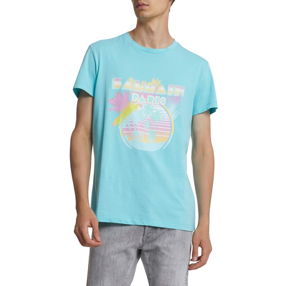 Palm Tree Logo Graphic T-Shirt Balmain