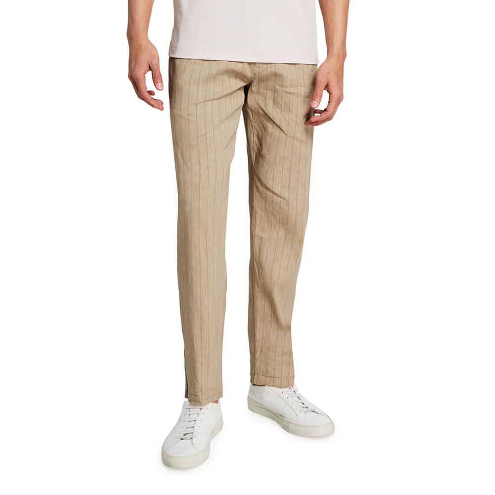 Alaro Striped Linen-Blend Pants Theory