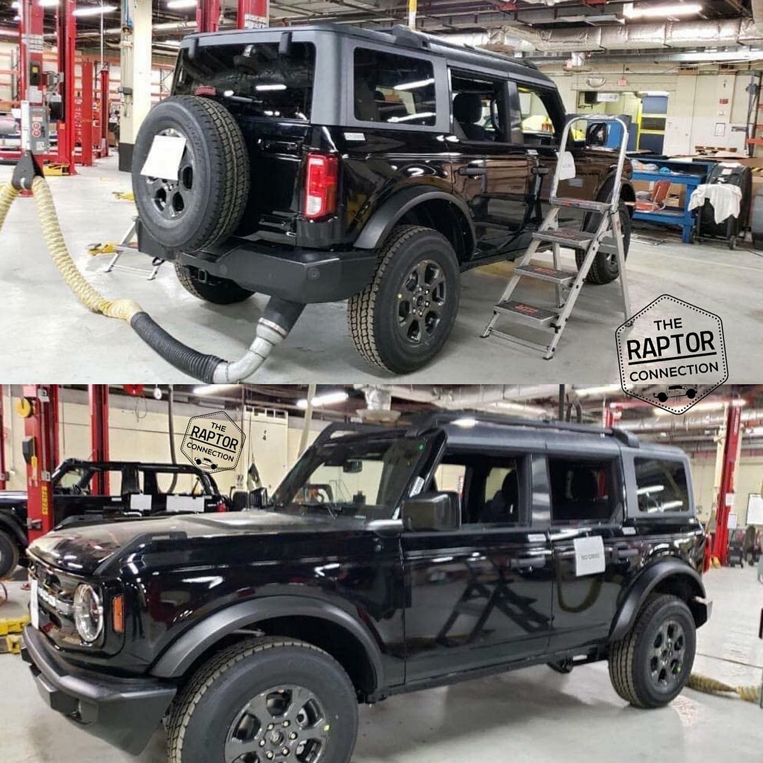 Black SUV front and back in the garage
