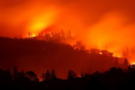 The Camp Fire wildfire in Oroville, California