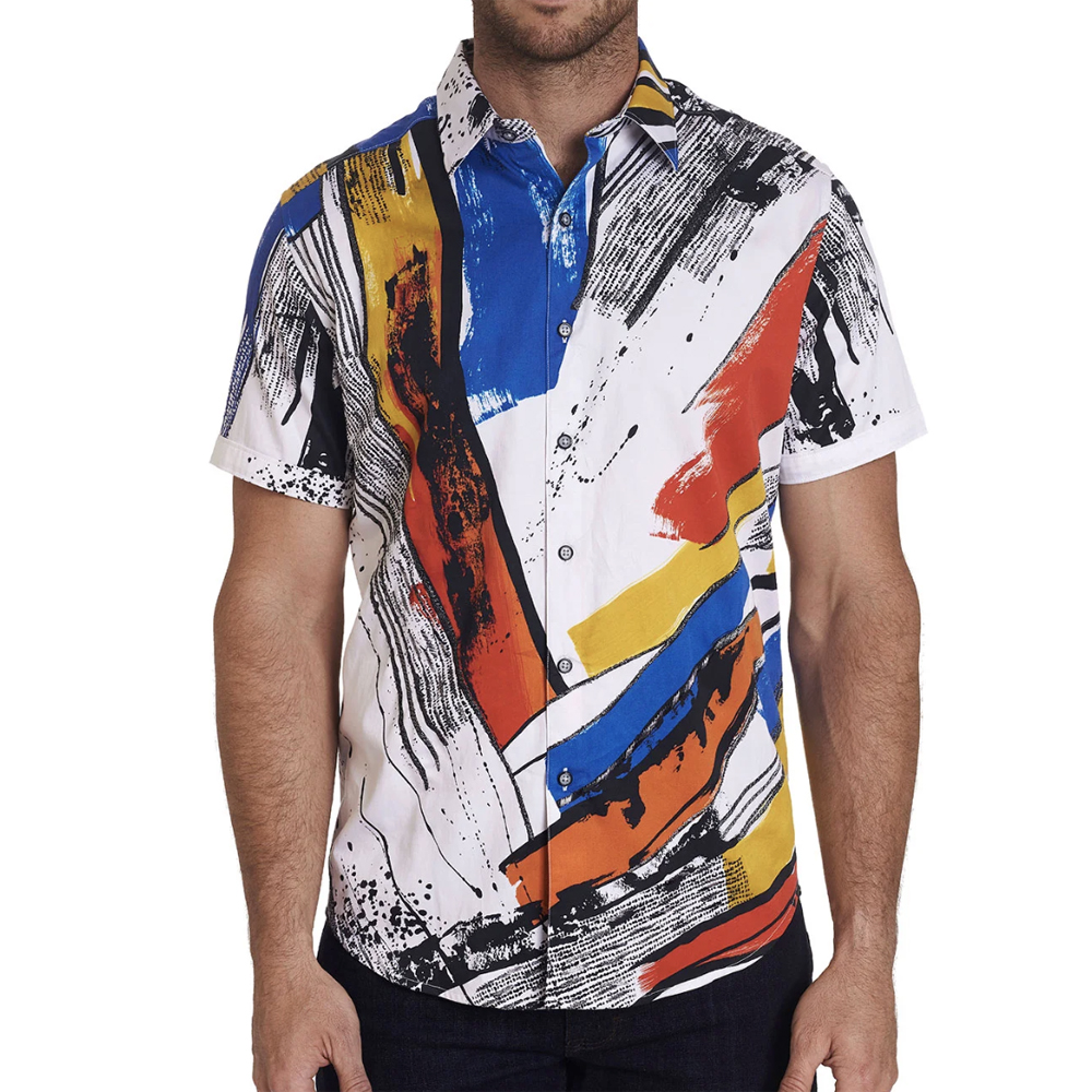 Monaco Patterned Short-Sleeve Sport Shirt Robert Graham