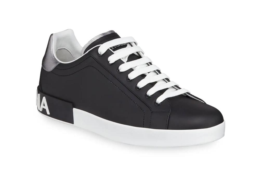 Portofino Logo Leather Low-Top Sneakers Dolce & Gabbana