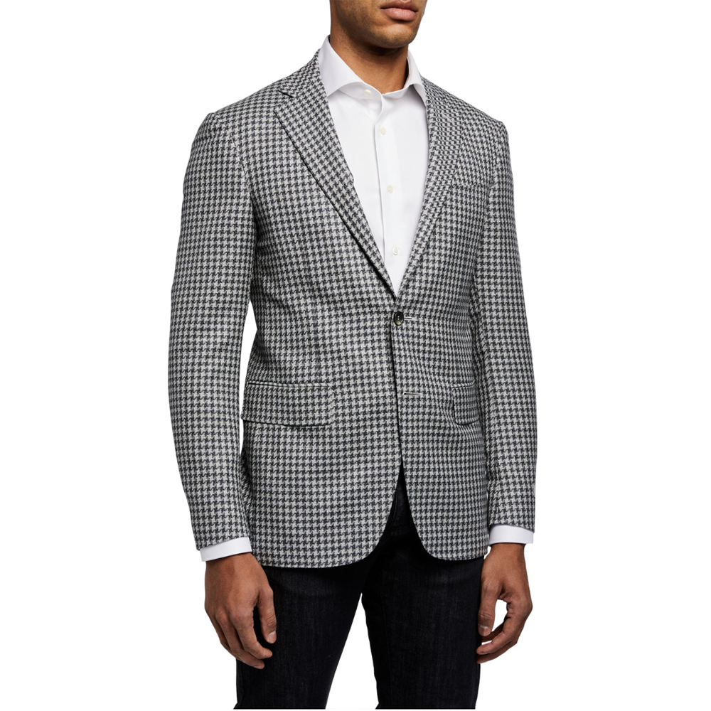 Large Houndstooth Two-Button Jacket Canali