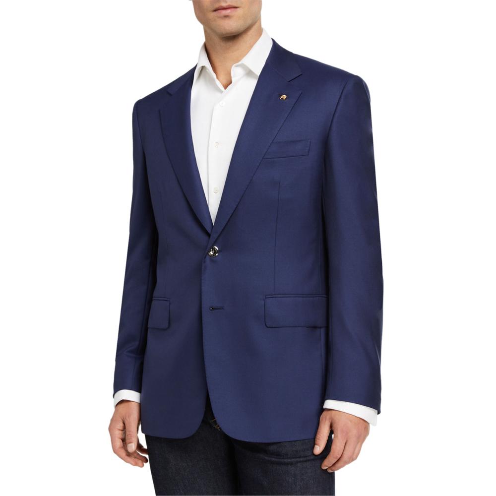 Solid Wool Blazer w/ Palladium Buttons Stefano Ricci