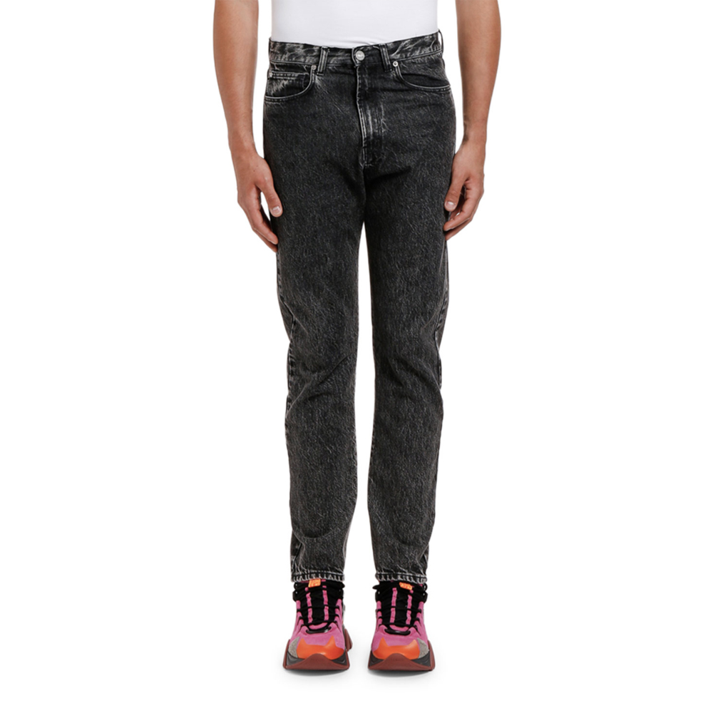 Relaxed Washed Denim Jeans Versace