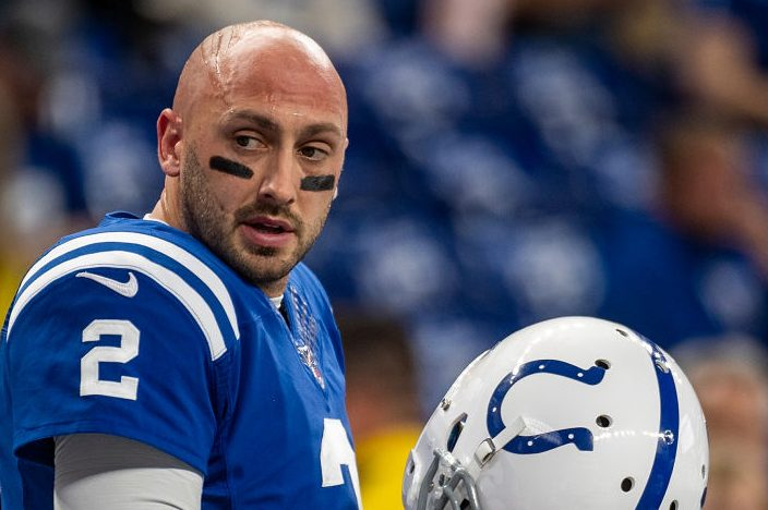 Brian Hoyer playing quarterback for the Indianapolis Colts. (Bobby Ellis/Getty)